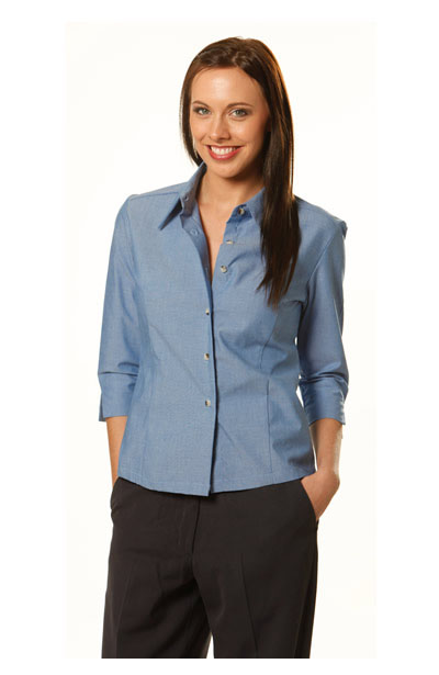 BS04 Ladies Wrinkle Free Chambray 3/4 Sleeve Shirts