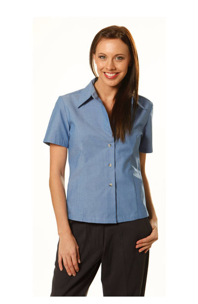 BS05 Ladies Chambray Wrinke Free Short Sleeve Shirts