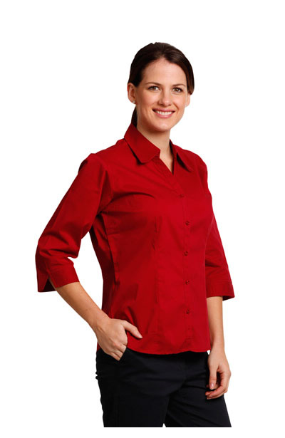 BS07Q Executive Lady 3/4 Sleeve Teflon Shirt With Open Neckline