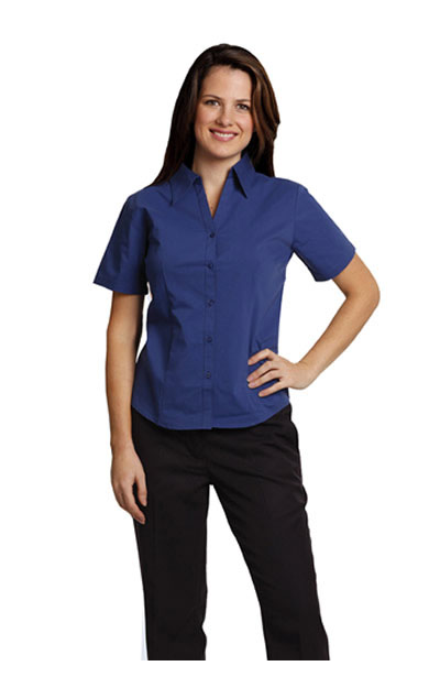 BS07S Executive Lady Short Sleeve Teflon Shirt With Open Neckline