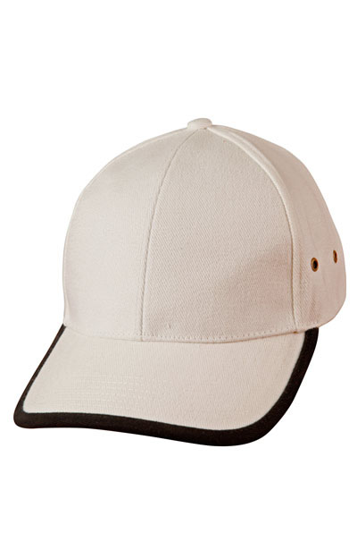 CH17 Heavy Brushed Cotton Baseball Cap With Peak & Back Trim