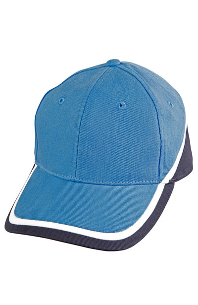 CH38 Tri-colour Baseball Cap Heavy Brushed Cotton With Sandwich Peak Cap