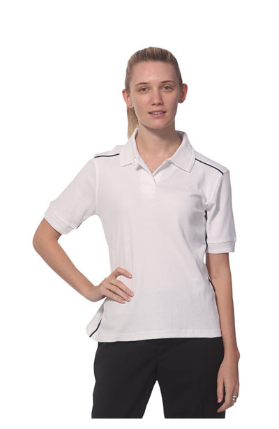 PS26 Cambridge Lady Pure Cotton Contrast Piping Short Sleeve Polo
