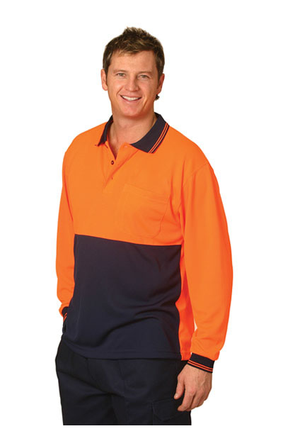 SW05CD High Visibility CooDry Long Sleeve Safety Polo
