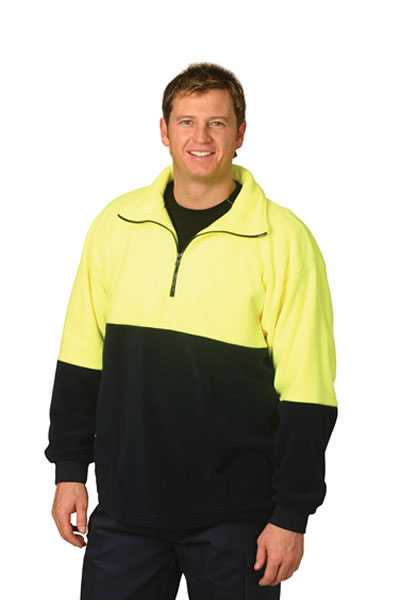 SW07 High Visibility 2 Tone Polar Fleece Half Zip Pullover