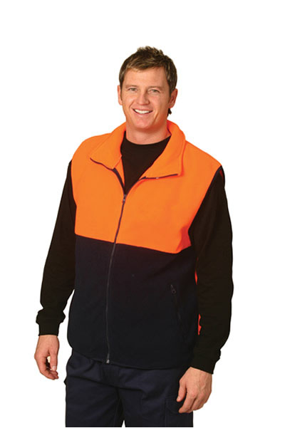 SW08 High Visibility 2 Tone Zip Front safety Vest