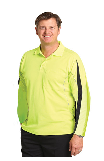 SW33A Men's TrueDry Hi-Vis Long Sleeve Polo with Reflective Piping