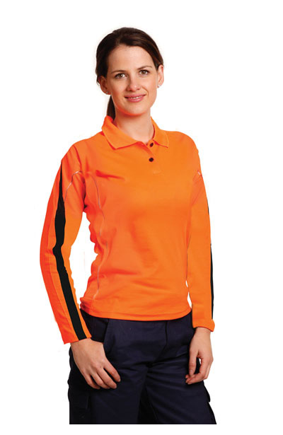 SW34A Ladies TrueDry Hi-Vis Long Sleeve Polo with Reflective Piping