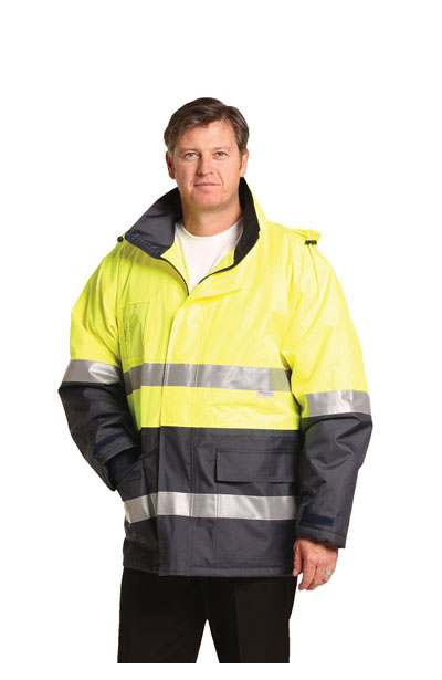 SW50 Hi-Vis Long Line Safety Jacket With Polar Fleece Lining and 3M Reflective Tapes