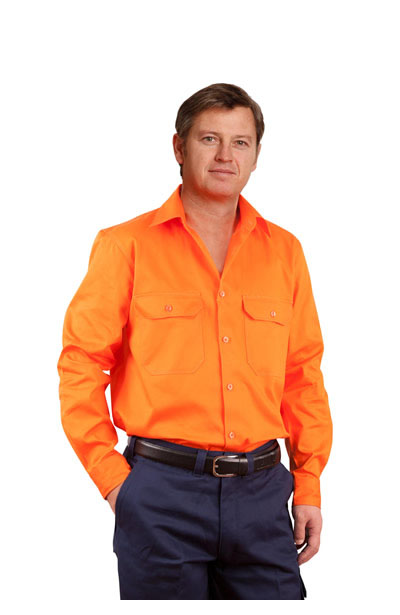 SW51 Men's Hi Vis Long Sleeve Drill Shirt
