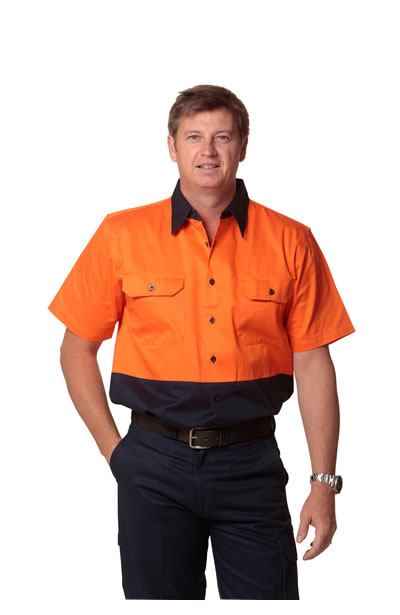 SW53 Hi-Vis Two Tone Short Sleeve Cotton Work Shirt.