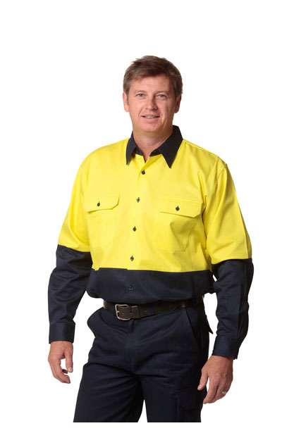 SW54 High Visibility Cotton Drill Shirts, Long Sleeve