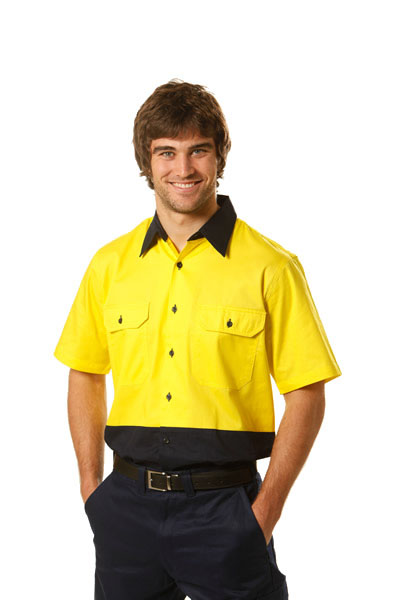 SW57 Hi-Vis Two Tone Cool-Breeze Short Sleeve Cotton Work Shirt