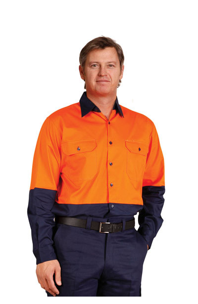 SW58 Hi-Vis Two Tone Cool-Breeze Long Sleeve Cotton Work Shirt