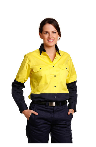 SW64 Ladies Hi-Vis Long Sleeve Safety Shirt