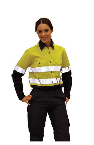 SW65 Ladies High Visibility Cool-Breeze Cotton Twill Safety Shirts