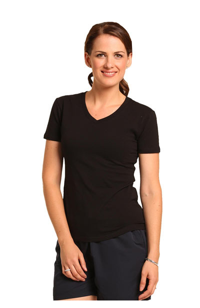 TS04A Ladies V-Neck Stretch Short Sleeve Tee