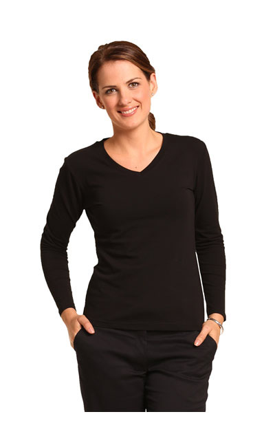 TS05A Ladies V-Neck Stretch Long Sleeve Tee