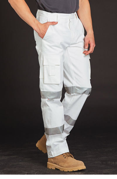 WP18HV Mens White Safety pants with Biomotion Tape